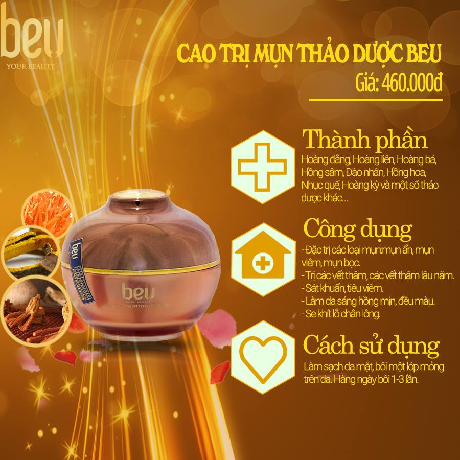 Cao trị mụn thảo dược BeU - 460.000đ / 20ml Dùng cho mụn ẩn, mụn nhẹ, không gây sưng phù