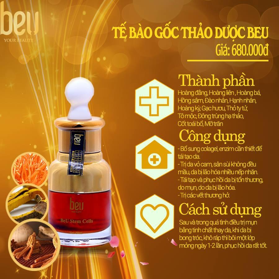 Tế bào gốc thảo dược BeU - 680.000đ / 20ml Dùng lăn kim trị sẹo và dưỡng sau trị mụn và sẹo